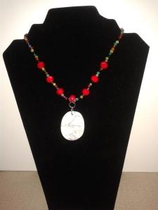 Howlite semiprecious stone pendant