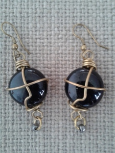 One of a kind black cabochon wirewrapped earrings